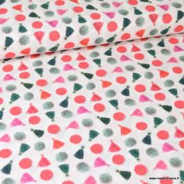 1 coupon de 1.6 m de Tissu popeline coton imprimé Pompons fond Blanc - Oeko tex