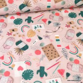 Tissu popeline coton imprimé Pelotes, cactus, ciseaux et autre matériel de couture - Oeko tex