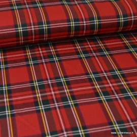 Tissu Tartan écossais à carreaux - noir, rouge et vert