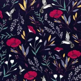 Tissu Popeline coton imprimé fleurs et oiseaux fond Marine de Maureen Cracknell pour Art Gallery Fabrics .x1m