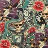 Tissu Popeline coton imprimé têtes de morts et Geisha par Alexander Henry