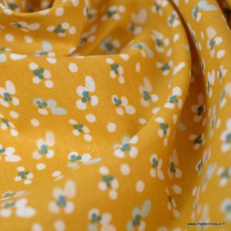 Tissu coton motifs Fleurs Fida Ocre - Oeko tex