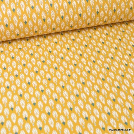Tissu coton imprimé plumes Ocre et Paon. Oeko tex