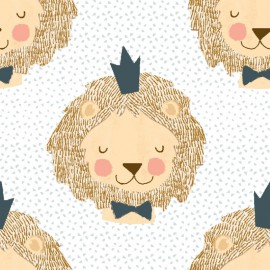 Tissu popeline motifs Lion à couronne coll. Little Lion by 3 Wishes