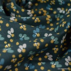 Tissu coton imprimé fleurs Nuit et Camel - Oeko tex