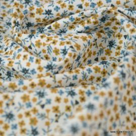 Tissu coton imprimé fleurs Pio Nuit et Camel - Oeko tex