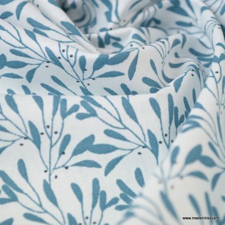 Tissu coton imprimé fleurs Prusse - Oeko tex