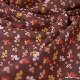 Tissu coton imprimé fleurs Fiduo Prune et Marsala - Oeko tex