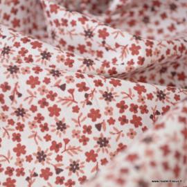 Tissu coton imprimé fleurs Pio Grenat et Prune - Oeko tex