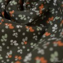 Tissu coton imprimé fleurs Fiduo Wengue et Tilleul - Oeko tex