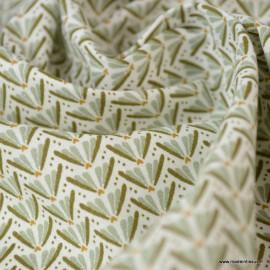 Tissu coton motif Marita Tilleul et Chatain - Oeko tex
