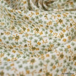 Tissu coton imprimé fleurs Pio Tilleul et Chatain - Oeko tex