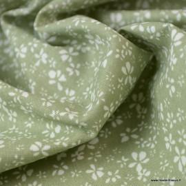 Tissu coton motif Fleurs Difatti Tilleul et Blanc - Oeko tex