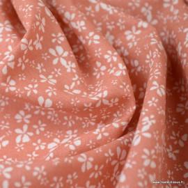 Tissu coton motif Fleurs Difatti Marsala - Oeko tex