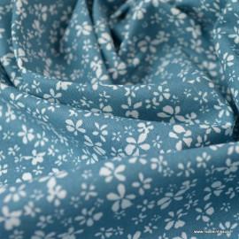 Tissu coton motif Fleurs Difatti Prusse et Blanc - Oeko tex