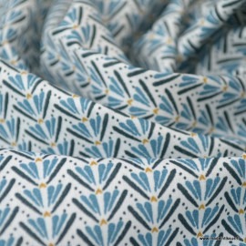 Tissu coton motif Marita Prusse et nuit - Oeko tex