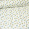 Tissu coton imprimé fleurs vert et safran - Oeko tex