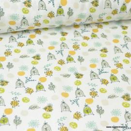 Tissu coton imprimé branches et caches oiseaux safran - Oeko tex