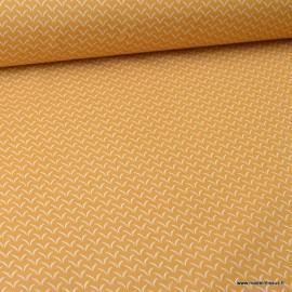 Tissu coton motifs cils Ambre - Oeko tex
