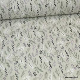 Tissu coton imprimé fleurs et branches Grege et violine - Oeko tex