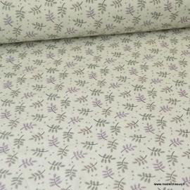 Tissu coton imprimé fleurs violine fond Grège - Oeko tex