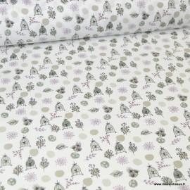 Tissu coton imprimé branches et cages oiseaux violine et gris - Oeko tex