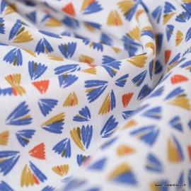 Tissu coton Zanteme bleu et marine - Oeko tex