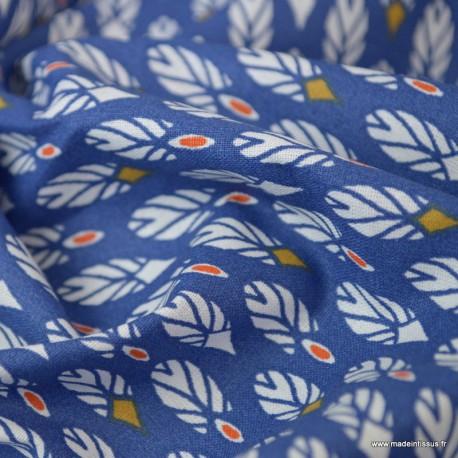 Tissu coton imprimé plumes Bleu et paprika. Oeko tex