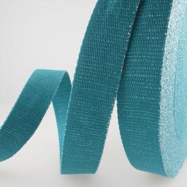 Sangle Lurex Pétrole 30mm pour sac