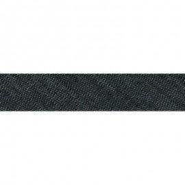 Biais replié 20 mm Jean en coton coloris Noir