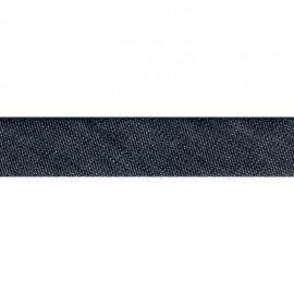Biais replié 20 mm Jean en coton coloris Bleu