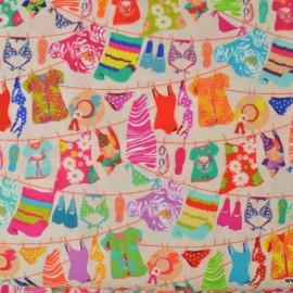 Tissu Cretonne coton imprimé de vêtements d'été sur corde x50cm