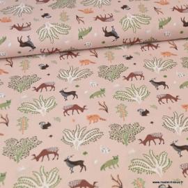 Tissu Popeline motifs Animaux de la forêt Vieux rose - Oeko tex