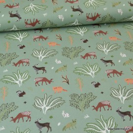 Tissu Popeline motifs Animaux de la forêt Vert menthe - Oeko tex