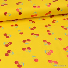 Tissu jersey motifs cerises Glitter cuivrés fond Jaune