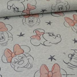 Tissu sweat jersey Frenchterry motifs Disney Minnie fond Gris - Oeko tex