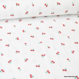 Tissu BIO jersey coton ajouré blanc motifs cerises - Oeko tex