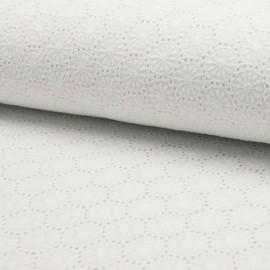 Tissu broderies anglaise coton blanc motifs fleurs en rosace