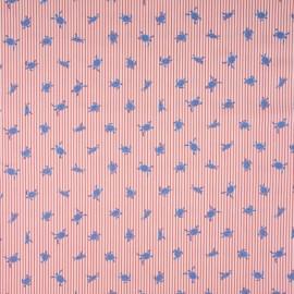 Tissu Popeline à rayures rouge et blanc motif Tortues - Oeko tex