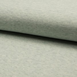 1 coupon de 97 cm de Tissu jersey coton ajouré motifs Menthe - Oeko tex