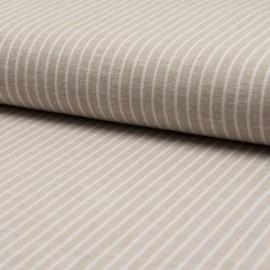 Tissu Lin à rayures beige et blanc