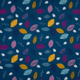 Tissu jersey Oeko tex imprimé Fleurs et feuilles fond pétrole
