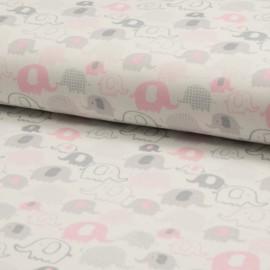 Tissu jersey interlock imprimé éléphants gris et roses