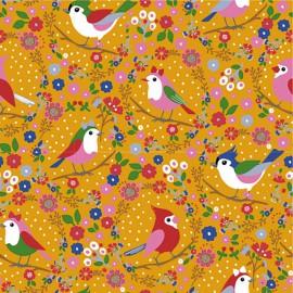 Tissu jersey Oeko tex motifs oiseaux et fleurs fond moutarde