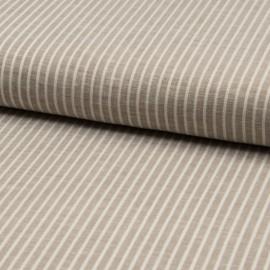 Tissu Rayon fluide à rayures blanc et beige - au mètre