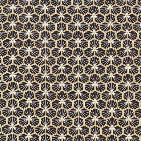 Tissu coton imprimé Riad Noir et or  - Oeko tex