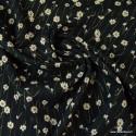 1 coupon de 1.6m de Tissu viscose Lurex Fleurs Cerano coloris Noir