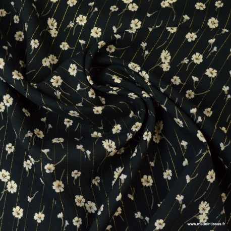 Tissu viscose Lurex Fleurs Cerano coloris Noir