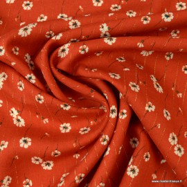 Tissu viscose Lurex Fleurs Cerano coloris Tomette