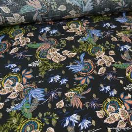 Tissu viscose Lurex Fleurs Maelle coloris Noir